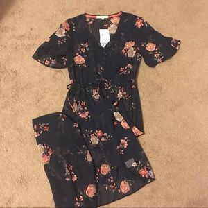 Floral sheer button down overlay dress